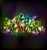 Merry Christmas floral text design, shimmering glowing backgroun Royalty Free Stock Images