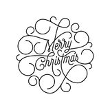 Merry Christmas flourish calligraphy lettering of swash line typography for greeting card design. Vector festive ornamental quote. Christmas text of swirl Stock Photo