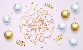 Merry Christmas flourish golden calligraphy lettering of swash line gold typography for greeting card design. Vector festive golde. Merry Christmas flourish Stock Photos