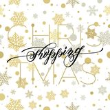 Merry Christmas flourish hand drawn calligraphy lettering of swash line typography for greeting card design. Vector festive orname. Ntal quote Christmas text on Stock Photos