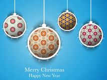 Merry Christmas Flower Balls with Retro Background Royalty Free Stock Photography