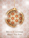 Merry Christmas Flower Balls with Retro Background Stock Images