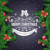 Merry Christmas Flyer Background With Frame From Fir Branches Decorated With Red Bows. Vector Illustration Royalty Free Stock Image