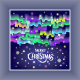 Merry Christmas in the form of Northern Lights in the sky 2016. Art Royalty Free Stock Images