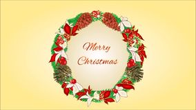Merry Christmas four Advent wreaths video. Animation of illustration seamless loop Merry Christmas four Advent wreaths video stock illustration