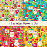 Merry Christmas Four Vector Seamless Patterns Set. Happy New Year Flat Design Vector Illustration. Tile Background. Set of Winter Holiday Items stock illustration