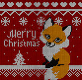 Merry Christmas Fox greeting card. Knitting red background. Stock Image