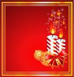 Merry Christmas Frame. Christmas Candled and Ribbon baclground Stock Image