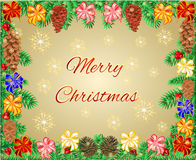 Merry Christmas frame of the branches with ribbon and pine cones vector Royalty Free Stock Photos