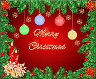 Merry Christmas frame with a candlestick  Royalty Free Stock Photo
