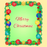 Merry christmas frame from Christmas tree branches decorated vector Royalty Free Stock Photos