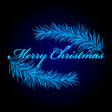 Merry Christmas frame with fir Stock Photography