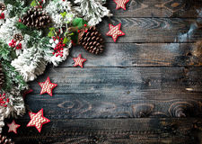 Merry Christmas Frame with green pine, colorful baubles and stars Stock Photography