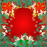 Merry Christmas frame  of pine needles. And  pine cones poinsettia and bows  illustration Stock Images