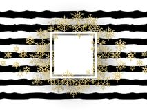 Merry Christmas frame with shining gold glittering snowflakes in white frame on striped black and white background. EPS royalty free illustration