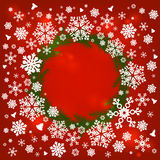Merry Christmas frame with snowflakes. Merry Christmas frame with white snowflakes. Vector illustration. Red background Royalty Free Stock Images