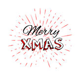 Merry Christmas free typography lettering with vintage sun star burst frame Stock Photos