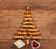 Merry christmas with french fries fast food xmas tree Stock Images