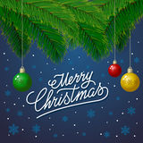 Merry Christmas Full Colors Blue Royalty Free Stock Photo