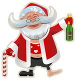 Merry Christmas. Fun Drunk Santa Claus holding bottle of champagne Stock Images