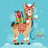 Merry Christmas funny card with llama. Merry Christmas funny card. Cute, hand drawn llama in cartoon flat style. Beautiful and funny llama with Christmas hat and Stock Photos