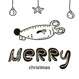 Merry christmas with Funny cartoon baby mouse. royalty free illustration