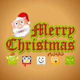 Merry Christmas with funny Character Stock Photography