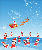 Merry christmas with funny kids and Santa Claus flying Royalty Free Stock Photo