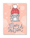 Merry Christmas Funny Postcard Vector illustration. Merry Christmas funny postcard with gray hare in red woolen hat with bubo taut over eyes. Vector illustration Royalty Free Stock Photo