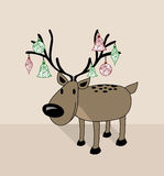 Merry Christmas funny reindeer. Merry Christmas funny decorated reindeer with xmas baubles greeting card collection. EPS10 vector organized in layers for easy Stock Photography