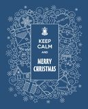 Merry Christmas! Funny Vector Doodles Illustration Keep Calm And Merry Christmas With Cartoon Characters In Blue Background. Stock Photos