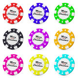 Merry Christmas gamble casino chips collection Stock Images