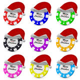 Merry Christmas gamble casino chips in red hat collection Stock Photo