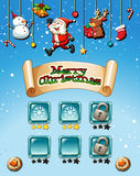 Merry Christmas on game template Royalty Free Stock Photo