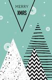 Merry Christmas, geometric abstract background, poster, theme and Scandinavian style Stock Photography