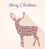 Merry Christmas geometric reindeer postcard Stock Images
