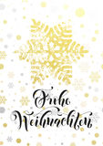 Merry Christmas German Frohe Weihnachten poster golden glitter snowflake Royalty Free Stock Images