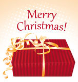 Merry christmas. Gift box greeting card. Royalty Free Stock Images