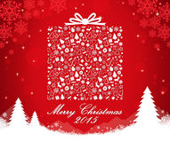 Merry Christmas gift box shape. Vector illustration Royalty Free Stock Photography