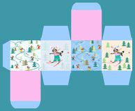 Merry Christmas! Gift box template with cute funny raccoons on skiing. 2. Morning, day, evening and night in winter forest stock illustration