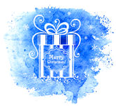 Merry Christmas gift box. Vector greeting card. Stock Photo