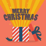 Merry christmas with a gift box. Vector illustration Royalty Free Stock Images