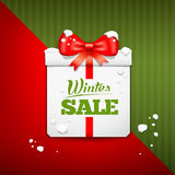 Merry Christmas gift box winter sale design Stock Photo