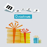 Merry Christmas Gift Boxes. Card Stock Photography