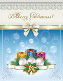 Merry Christmas with gift boxes. And Christmas decorations Stock Photography