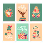 Merry Christmas  gift cards. Merry Christmas collection  gift cards. Set of elements of Christmas: Christmas tree, gifts, hat, mittens, socks, ball, reindeer Stock Photography