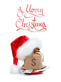 Merry Christmas gift concept with money isolated on white royalty free stock photo