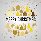 Merry Christmas gift poster. Christmas gold glittering lettering. Design. Icons of christmas items in circle shape. Happy new year design card. Christmas Royalty Free Stock Photo