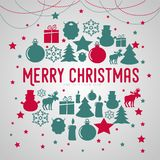 Merry Christmas gift poster. Christmas gold glittering lettering. Design. Icons of christmas items in circle shape. Happy new year design card. Christmas Stock Image