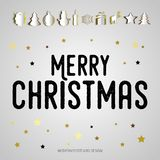 Merry Christmas gift poster. Papercut icon items. Christmas gold. Glittering lettering design. Happy new year design card. Christmas surprise illustration Stock Image